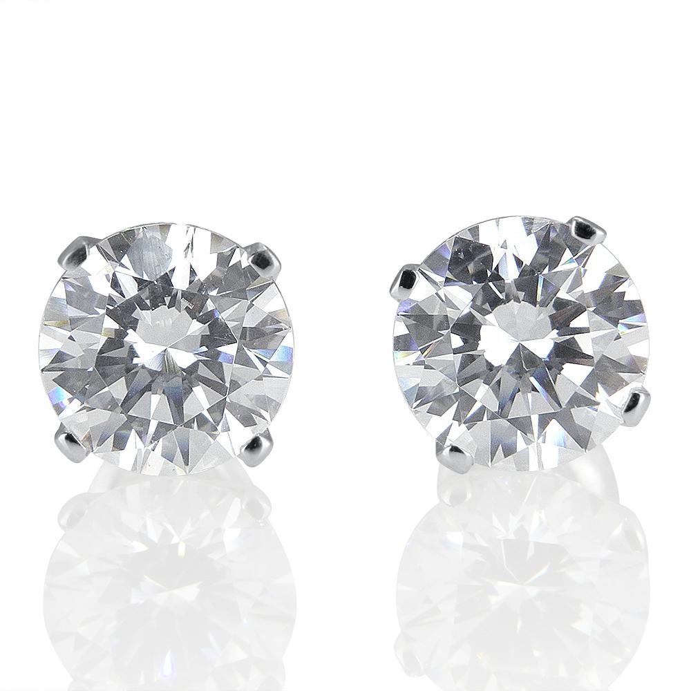 1 1 2 Carat Diamond Stud Earrings Round G H SI1 18K White
