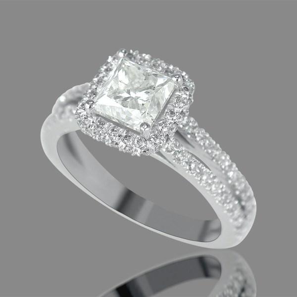 3 Carat Princess Cut Diamond Engagement Ring Si1 18k White Gold Enhanced