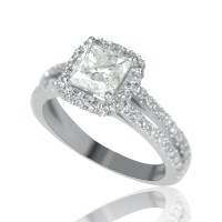 2 Carat Solitaire Princess Cut Diamond Engagement Ring G