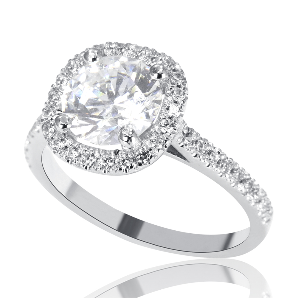 2 Carat H SI1 Diamond Engagement Ring Round Cut 14K White Gold