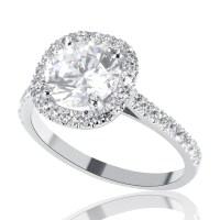 2 Carat H SI1 Diamond Engagement Ring Round Cut 14K White Gold