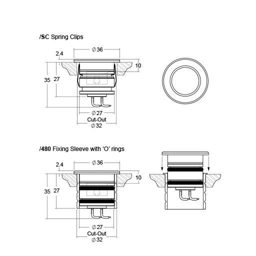 LD43 miniature recessed LED uplight