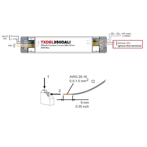 small resolution of  txdel 350 500 700dali dali dimmable constant current driver measurements for