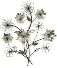 Metal Wall Art New Wall Decor - SILVER FLOWER BRANCH | eBay
