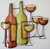 Metal Wall Art - Wine Bottle Scene