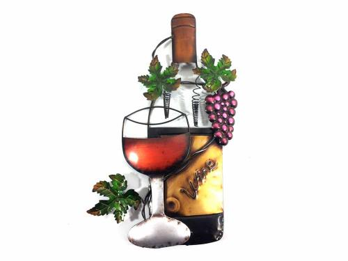 Metal Wall Art Wine Glass Bottle And Purple Grape Scene | iltribuno.com