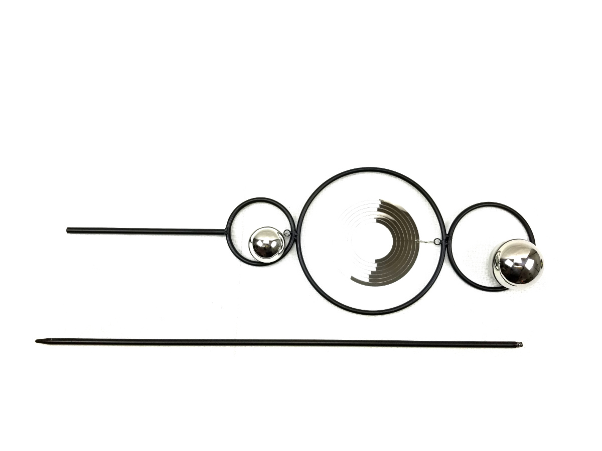 Garden Stake With Stainless Steel Gazing Ball And Wind Spinner