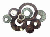 Metal Wall Art - Bronze Linked Circle Disc Abstract