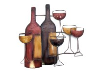 Metal Wall Art - Brown Wine Bottle Scene