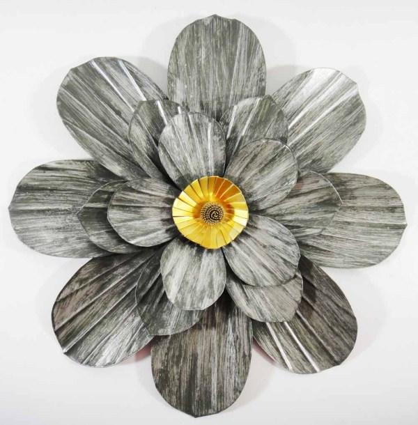 Grey Metal Flower Wall Art