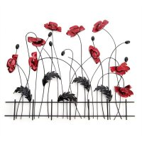 NEW Contemporary Metal Wall Art Sculpture - Red Poppy ...