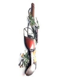 Metal Wall Art - Wine Glass Bottle And Purple Grape Scene