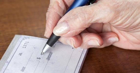 Image result for old woman writing check