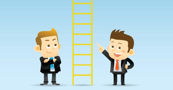 Cartoon characters Lou & Stan standing between an 'insurance' ladder © Ziven/Shutterstock.com