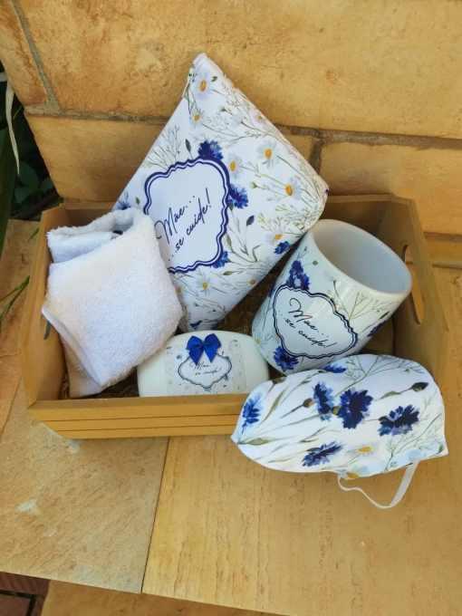 Kit caixinha mdf com caneca sublimada toalhinha e mascara