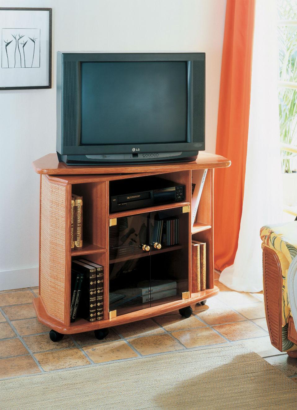 meuble tv pivotant en rotin