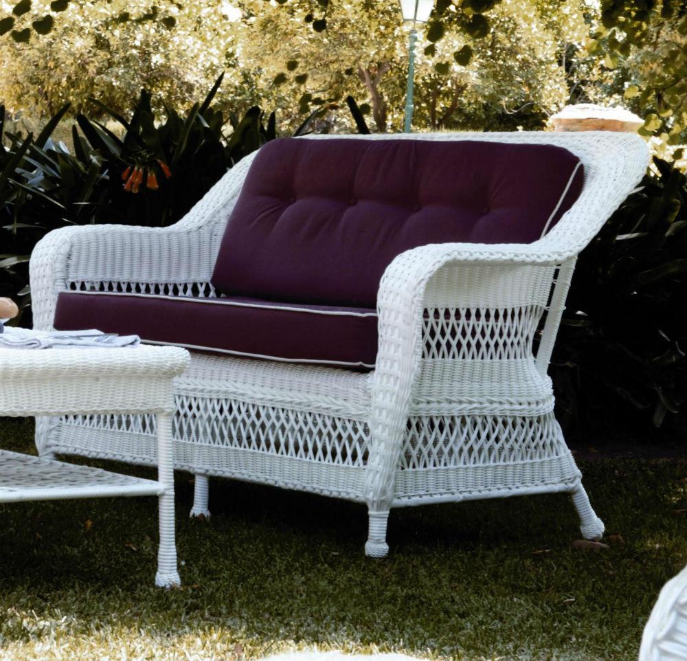 canape de jardin 3 places en resine tressee blanc