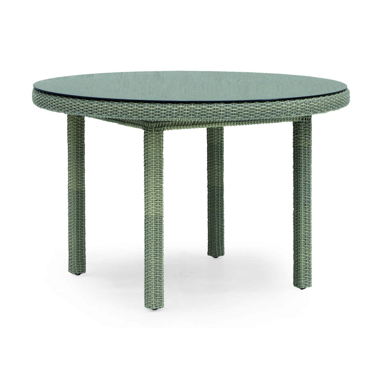Table de jardin ronde 120 cm en rsine tresse et aluminium  Brin dOuest