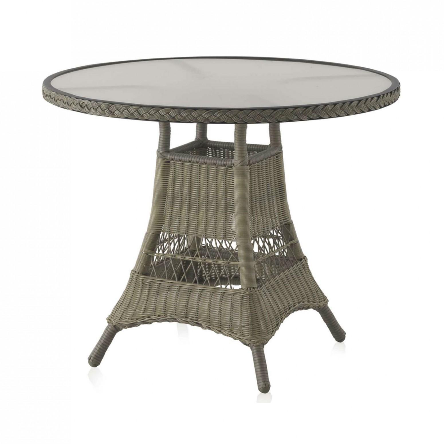table ronde de jardin 90 cm aluminium et resine tressee