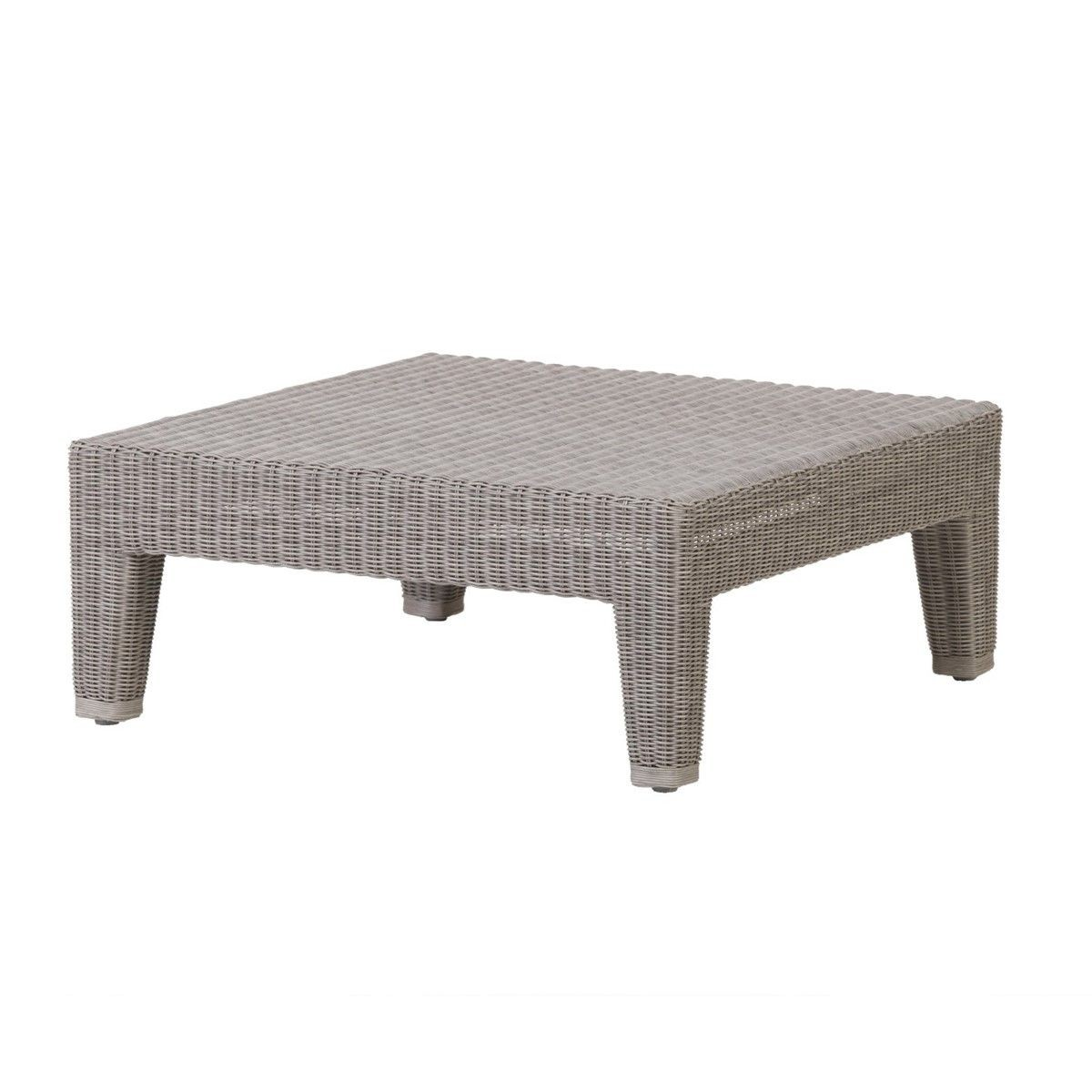 table basse en resine tressee grise ou poivre