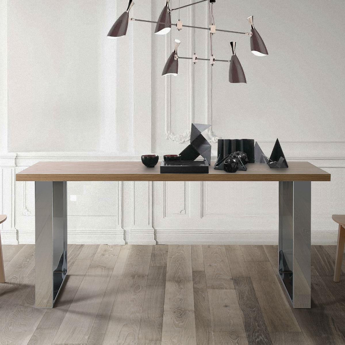 table plateau bois pieds metal