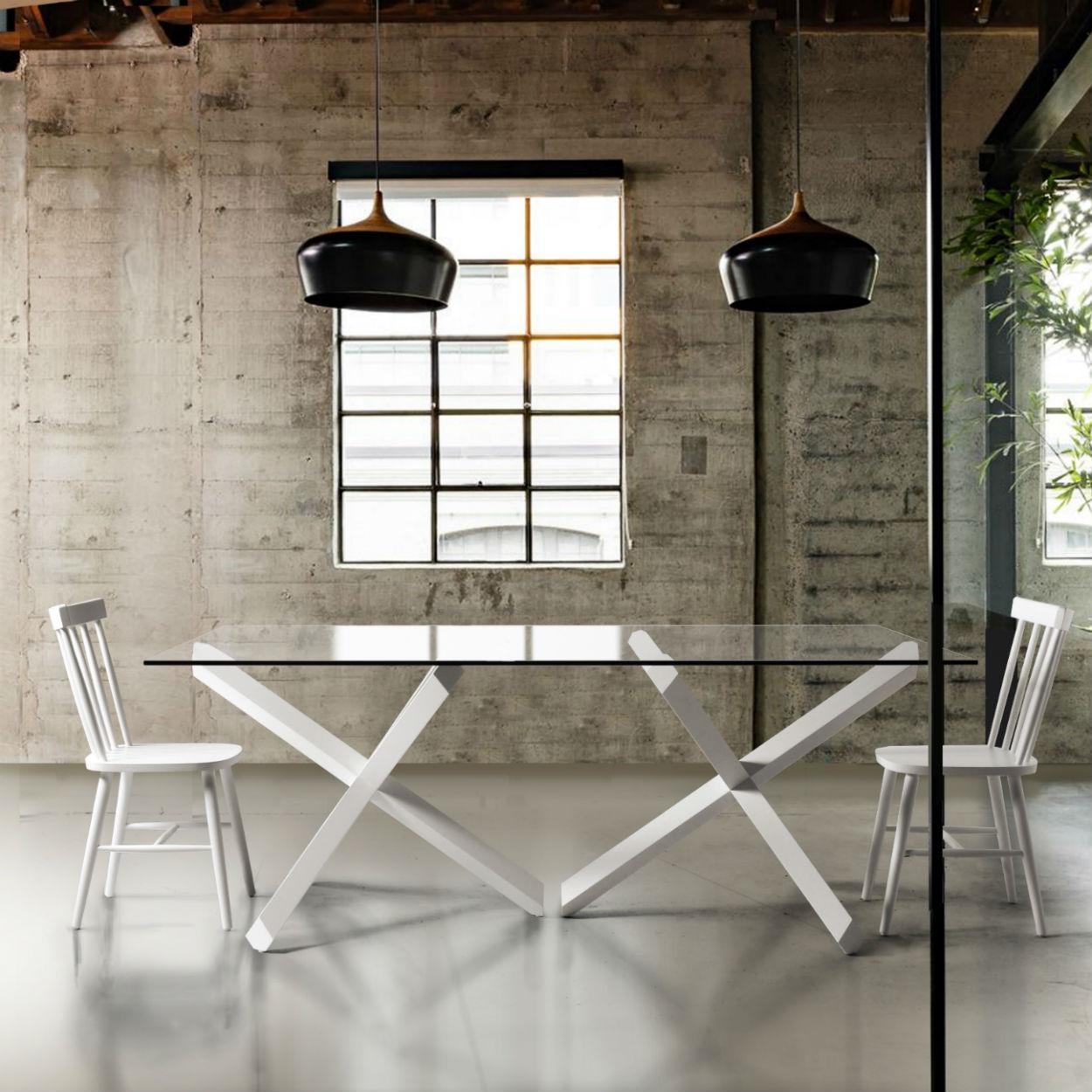 table de salle a manger verre et bois design