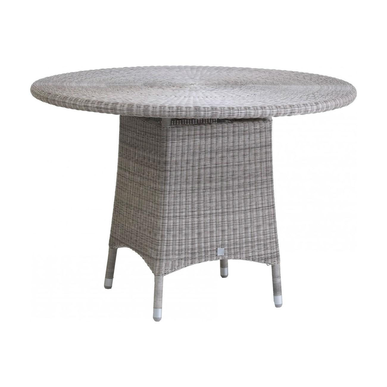 table de jardin ronde diametre 110 cm en resine tressee