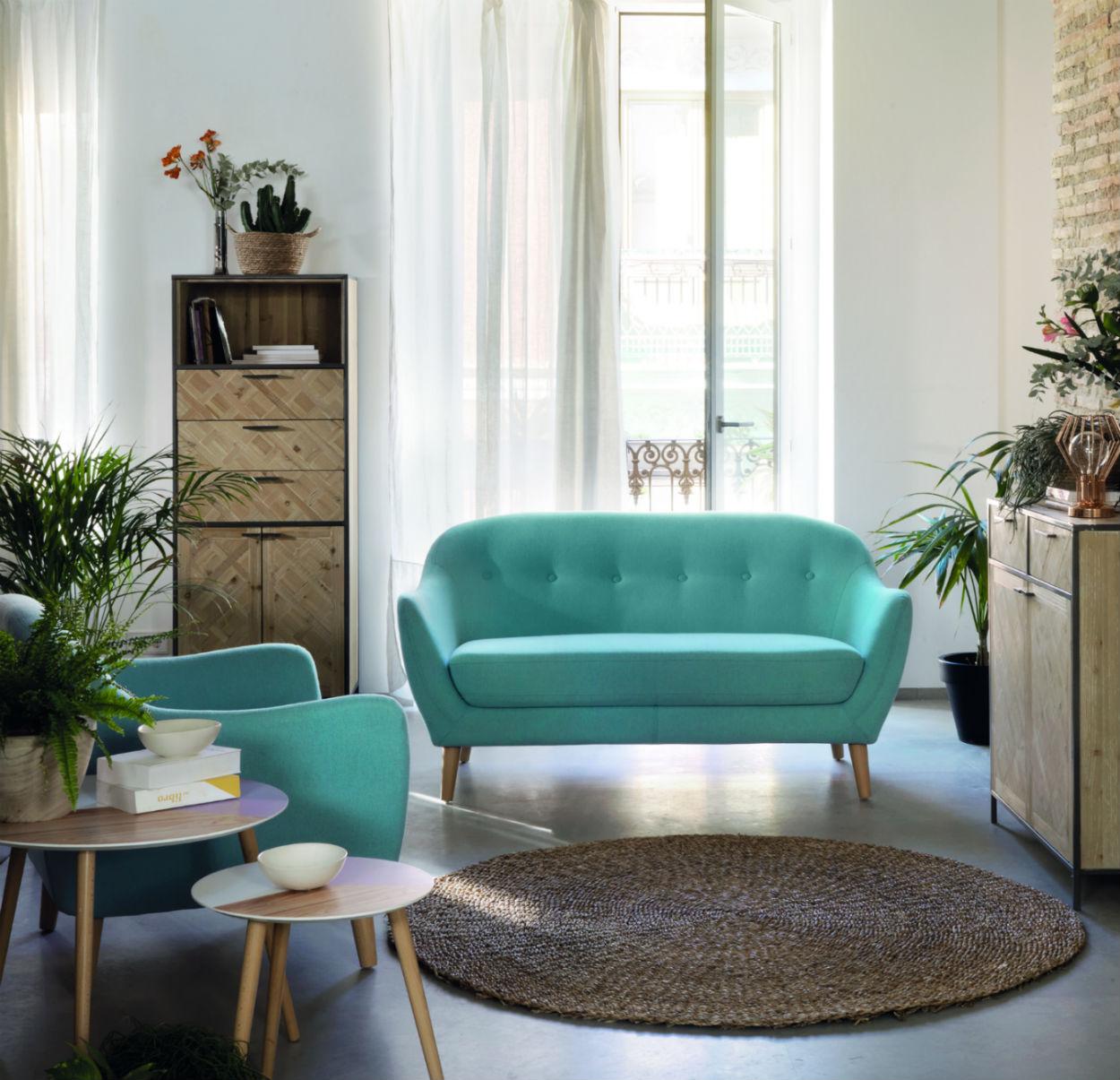 fauteuil style scandinave bleu