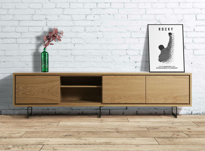 meuble bas tv en chene naturel