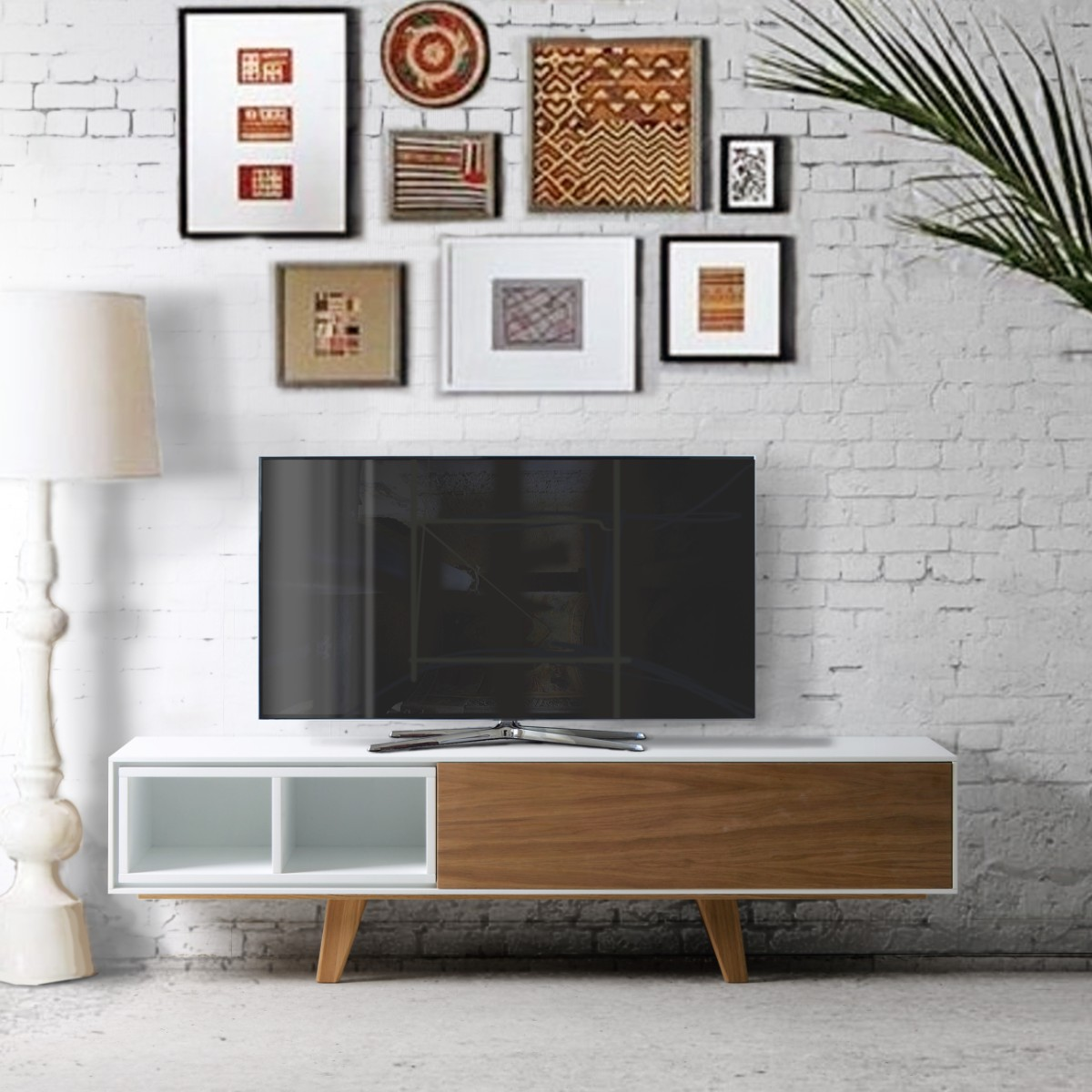 meuble tele 150 cm style scandinave bicolore