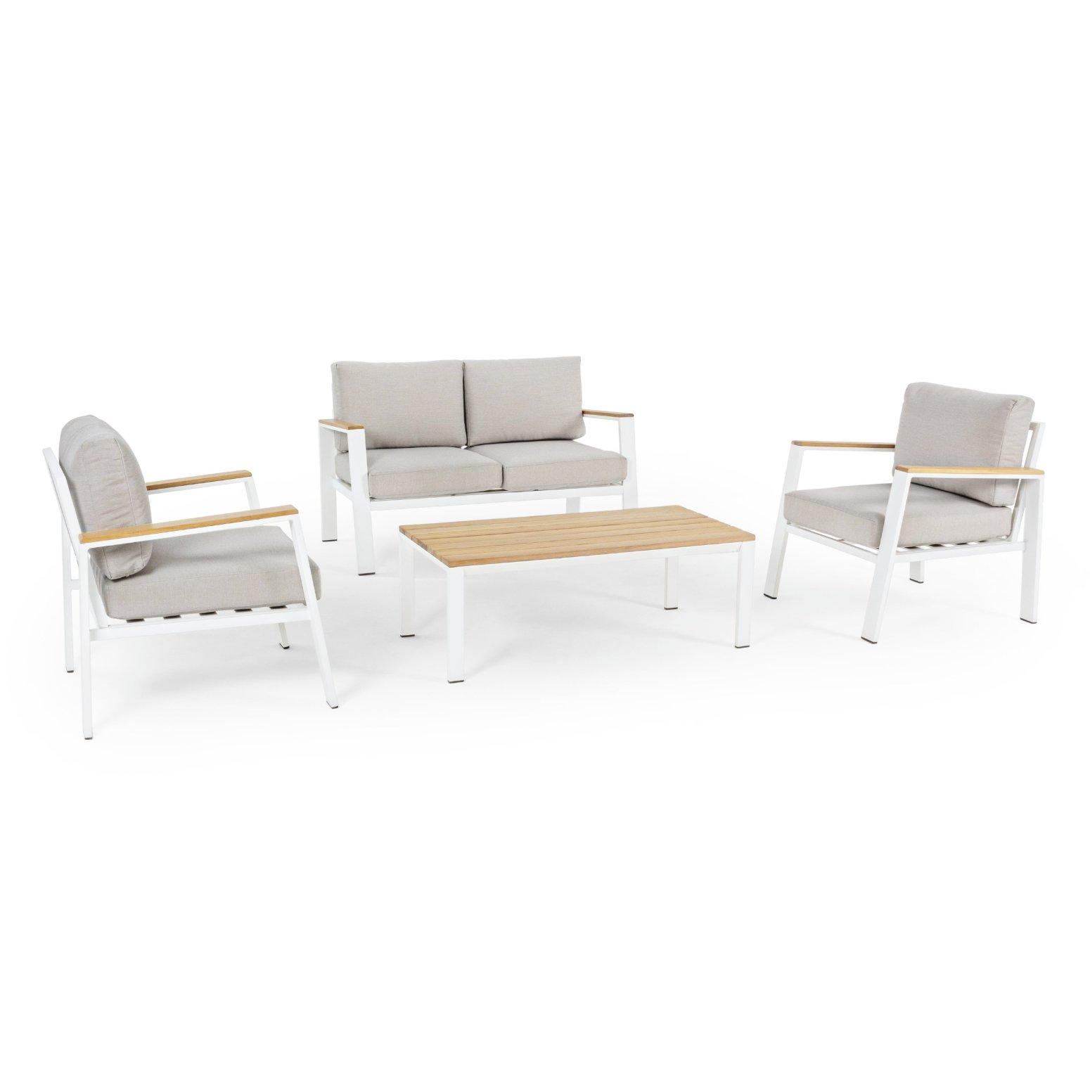 salon de jardin aluminium blanc et acacia 4 places