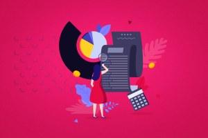 Ilustração-mostra-mulher-com-lupa-procurando-como-investir-nas-redes-sociais