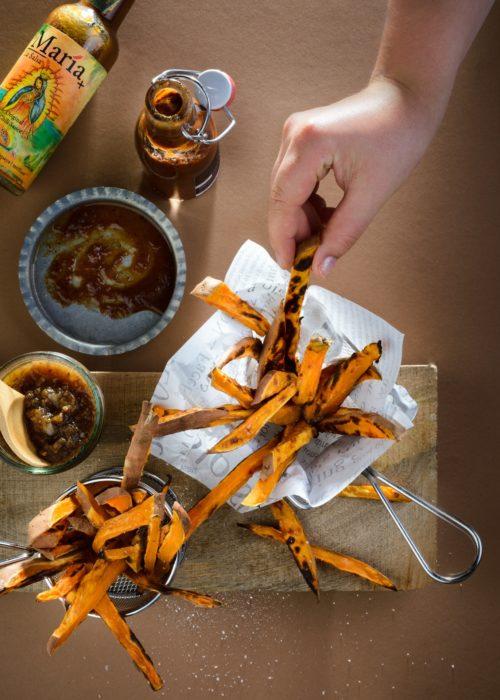 Süßkartoffel-Karotten-Pommes Rezept