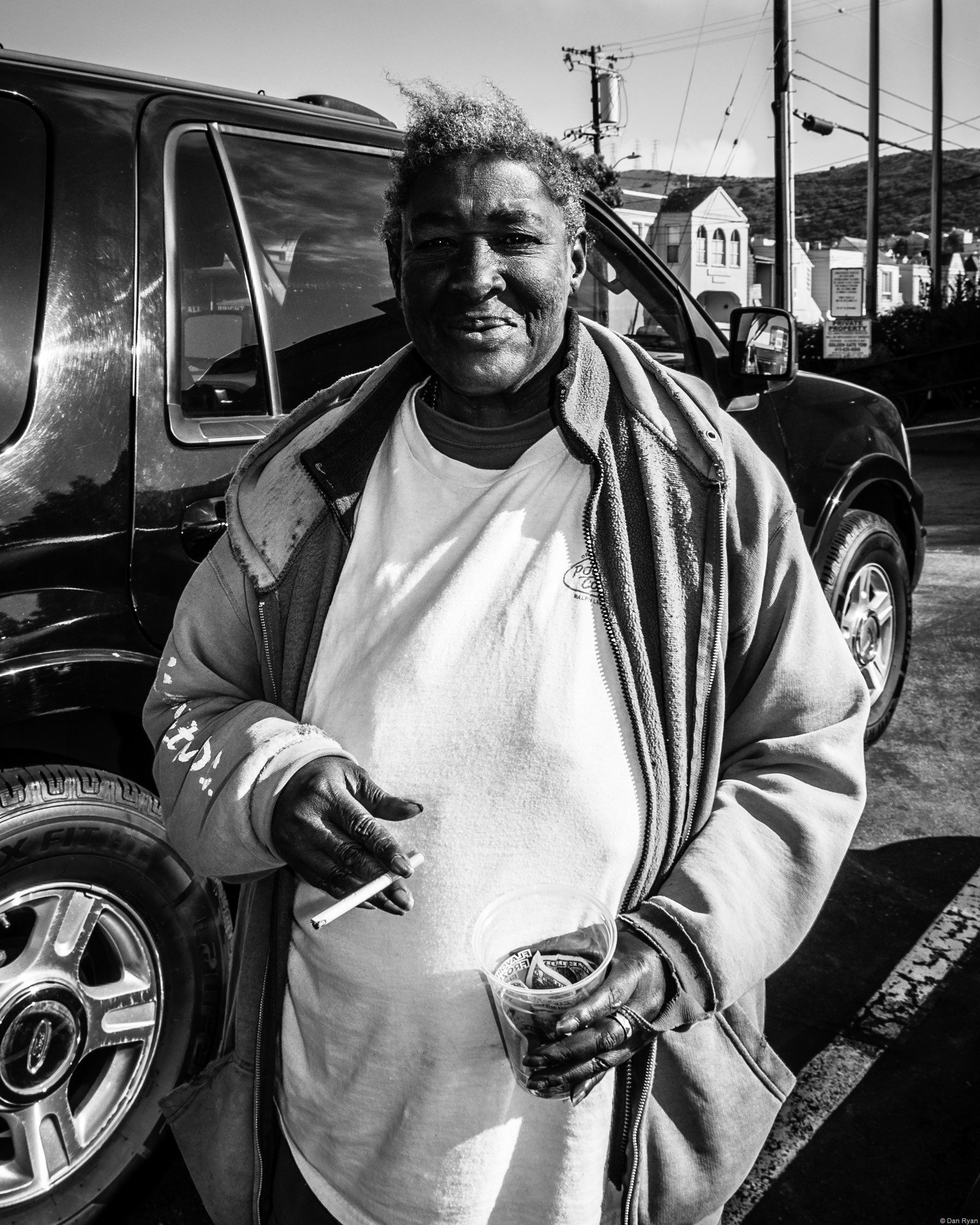 African-American homeless woman