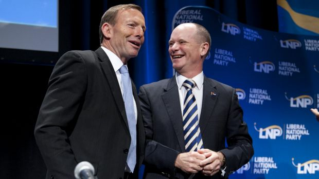 Prime Minister Tony Abbott and Premier Campbell Newman at the LNP party state convention in July.