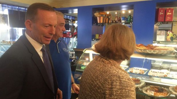 Tony Abbott during his visit to Brisbane.