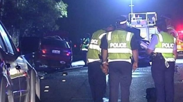 A screenshot from Channel Seven footage of the fatal crash at Coomera.