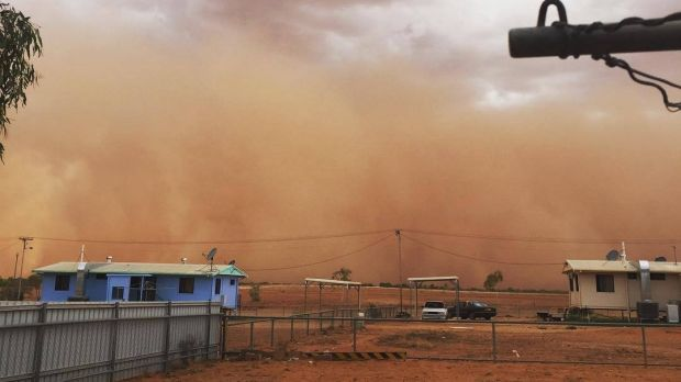 A major dust storm swept over the Queensland town of Boulia on Tuesday.