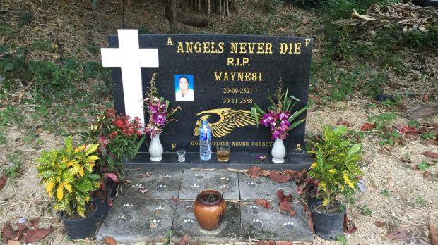"A commemorative stone for Wayne Schneider at the ""Angel's Place"" bar and Hells Angels members-only compound in Pattaya. ..."