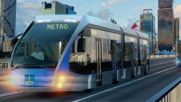 Artists' impression of a Brisbane Metro bi-articulated bus crossing the Victoria Bridge.