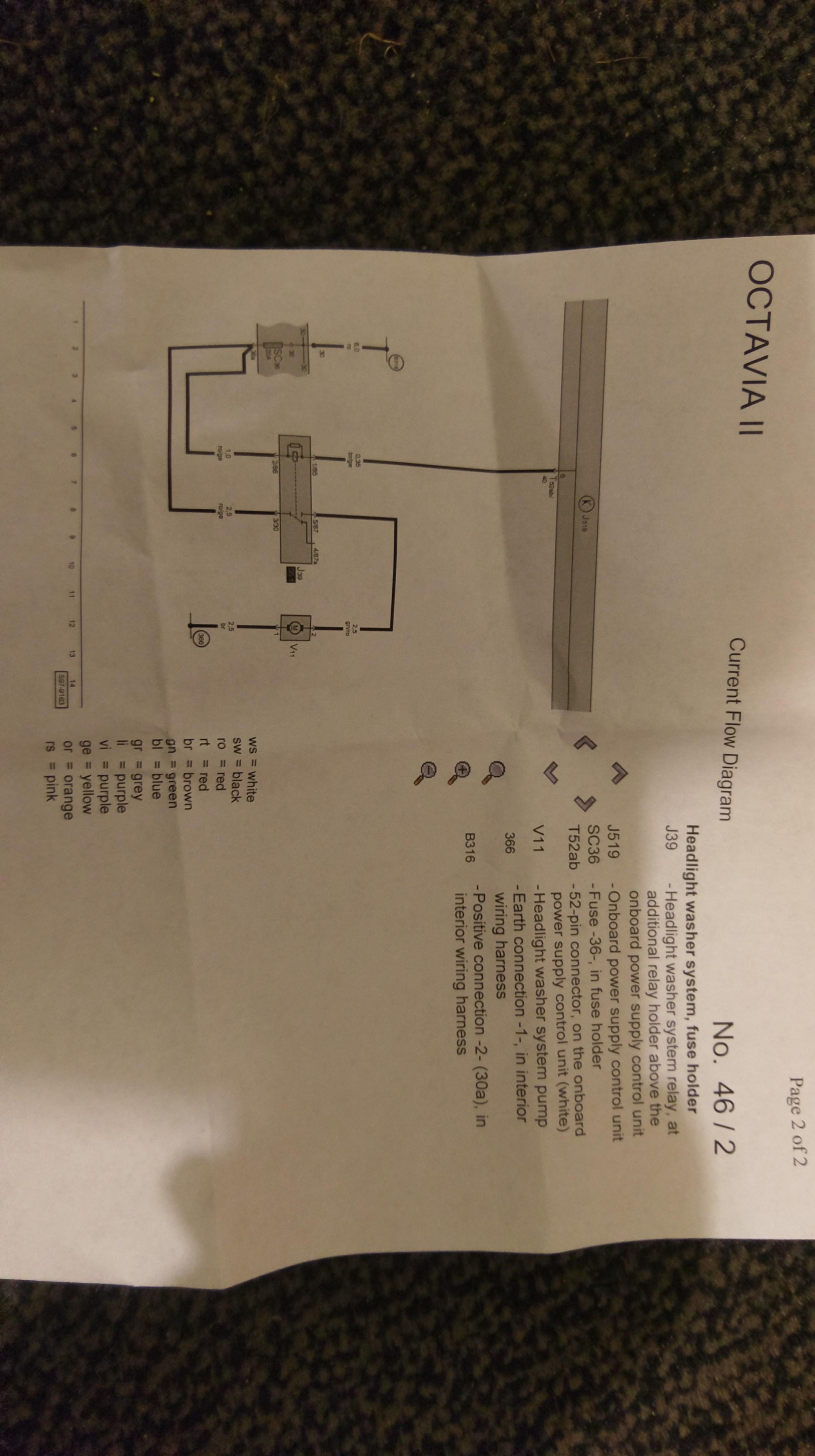 hight resolution of headlight washer relay and wiring skoda octavia mk ii 2004 2013 skoda octavia headlight wiring diagram