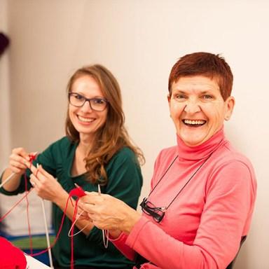 two women knitting