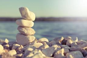 stones piled beach