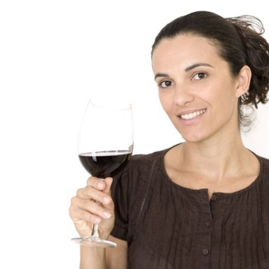 woman with wine