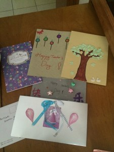 On Teacher's Day the students made me some lovely cards