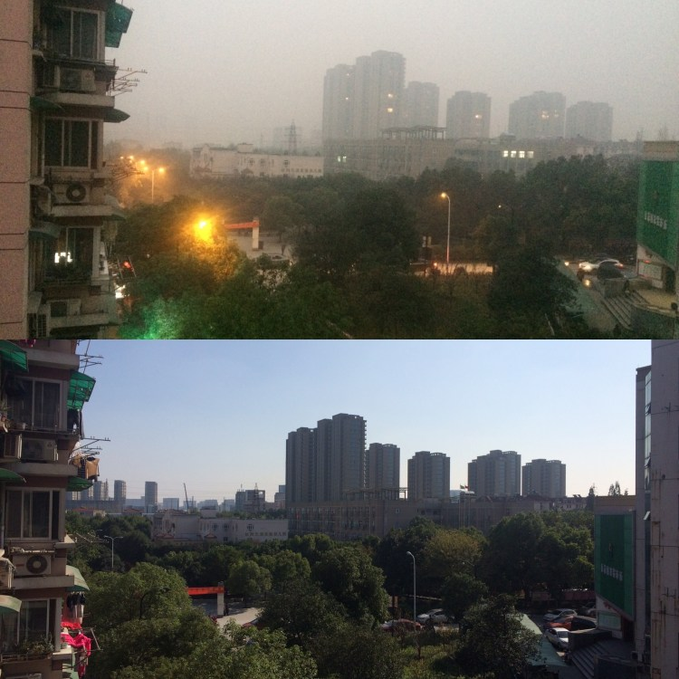 Pollution in Hangzhou: A good day vs a bad day.