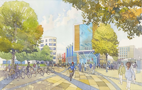 An artist's impression of how the area around Temple Meads could look in the future