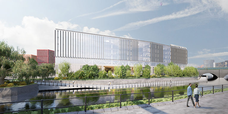 Artist impression of Temple Quarter Enterprise campus view from the river.