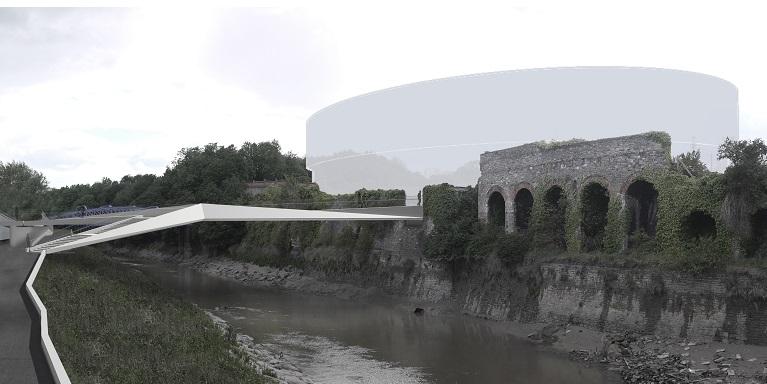 St Philips Footbridge view with arena