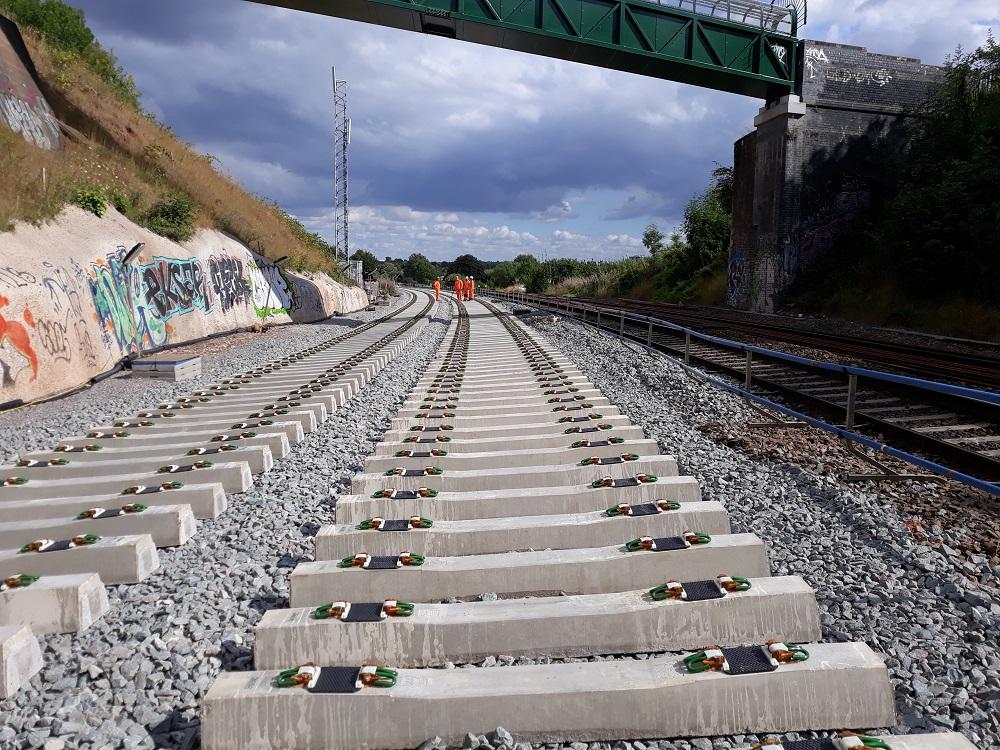 Workers and railways sleepers